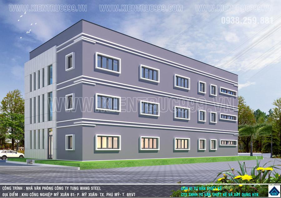 Tòa nhà điều hành bố trí cửa sổ đều đặn và khoa học ở mặt phía sau và 2 bên hông