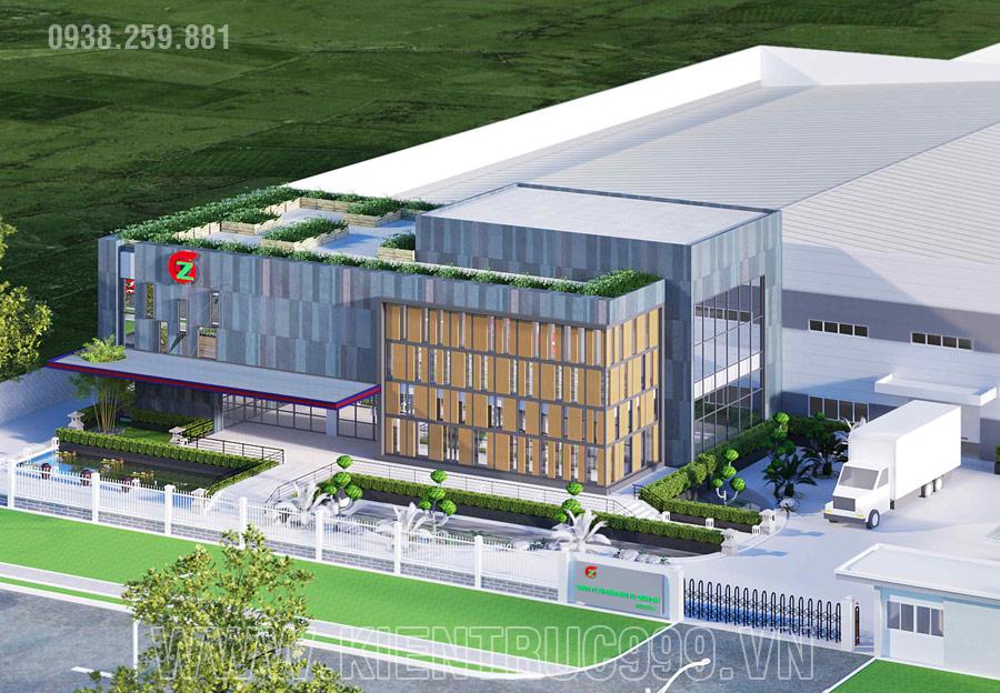 Mẫu thiết kế văn phòng nhà máy kiến trúc hiện đại nổi bật, cá tính có chiều sâu.