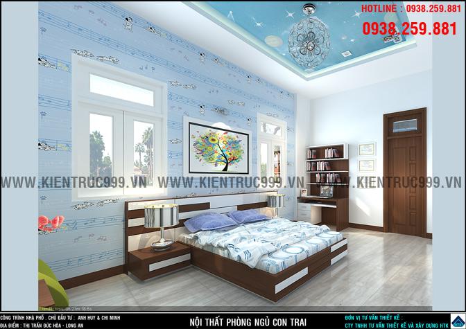 Nội thất phòng ngủ con trai với mẫu giấy dán tường nốt nhạc màu xanh .