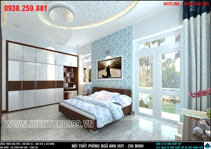 Nội thất phòng ngủ đẹp đơn giản gam màu xanh mệnh thủy