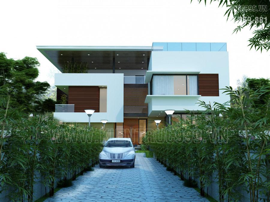 Thiết kế mẫu nhà 2 tầng mái bằng đơn giản hiện đại có hồ bơi trên mái
