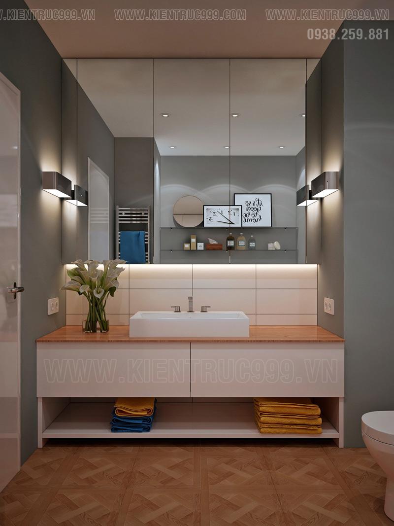 Trang trí nhà vệ sinh nhỏ với gương lớn để nới rộng diện tích