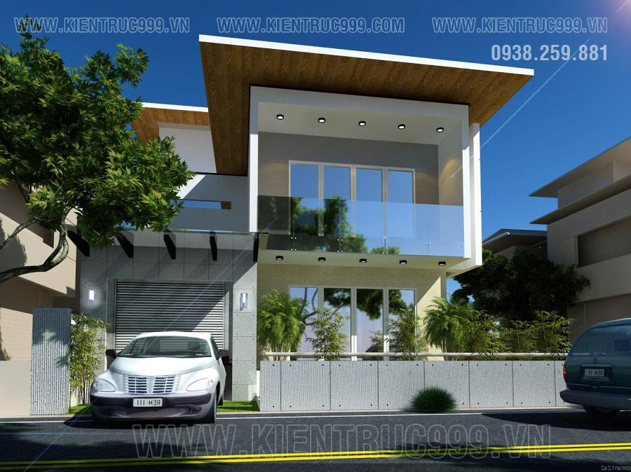 Nhà biệt thự 2 tầng đẹp hiện đại mái thái kết hợp mái bằng