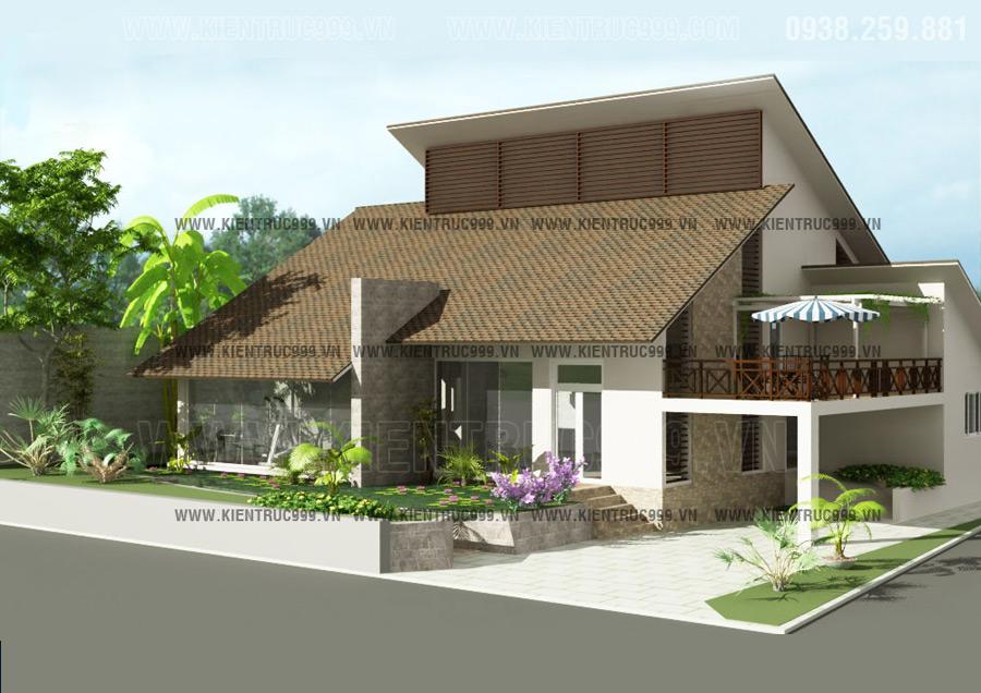 Mẫu nhà đẹp mái lệch có gác lững phong cách kiến trúc Việt