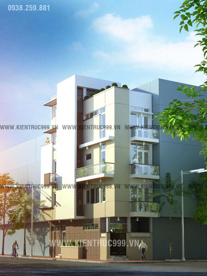 Thiết kế nhà phố 2 mặt tiền 4 tầng đẹp hoàn hảo