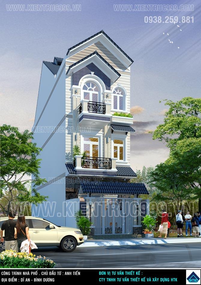 Nhà phố 5m đẹp 1 trệt 2 lầu mái ngói tại Dĩ an Bình Dương