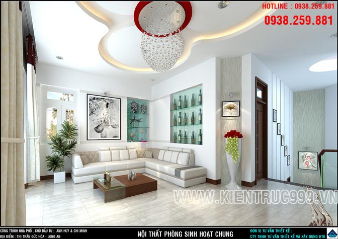 Thiết kế nội thất phòng sinh hoạt chung đẹp lung linh hìa hòa ấn tượng.