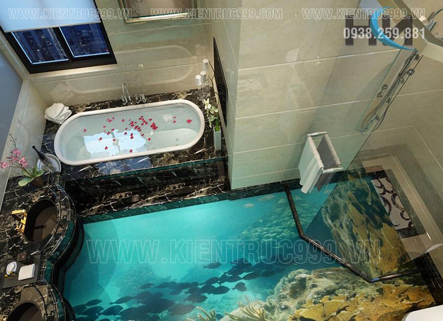 phong thủy nhà vệ sinh ốp lát gạch 3d phong cảnh mệnh thủy