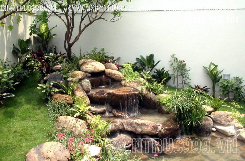 tiểu cảnh hòn non bộ thác nước sân vườn mệnh thủy