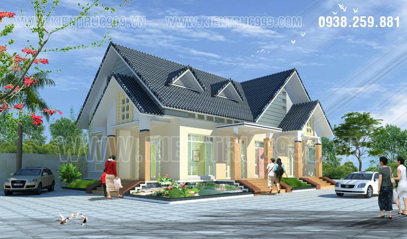 Ngôi biệt thự đẹp 1 tầng mái thái nổi bật với kiến trúc mái nhấp nhô, nhiều tầng
