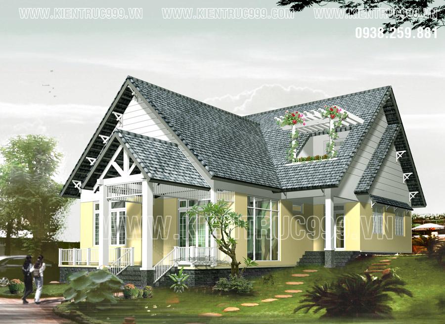 Biệt thự 1 tầng đẹp mái thái hình chữ L sân vườn thơ mộng