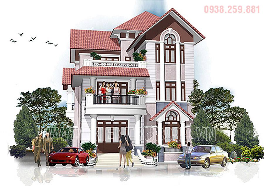 Mẫu nhà biệt thự mái thái 3 tầng thiết kế tân cổ điển