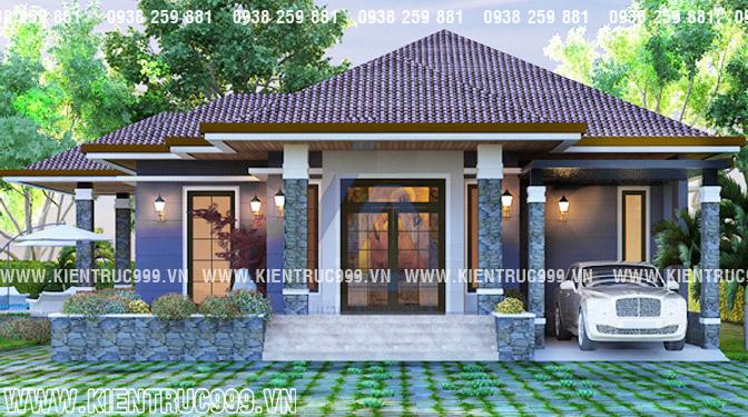 mẫu nhà vườn 1 tầng đẹp mái ngói Thái cực thích