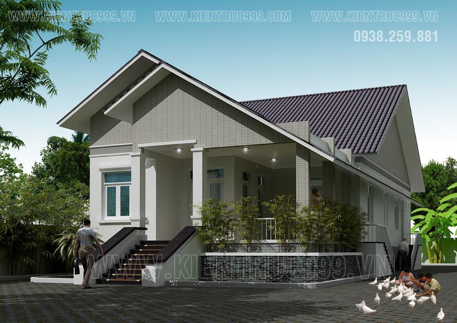 Nhà đẹp 1 tầng mái thái ở nông thôn