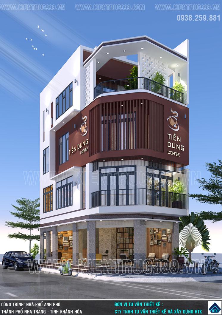 nhà 2 mặt tiền kinh doanh cafe có thiết kế mặt tiền hiện đại bắt mắt