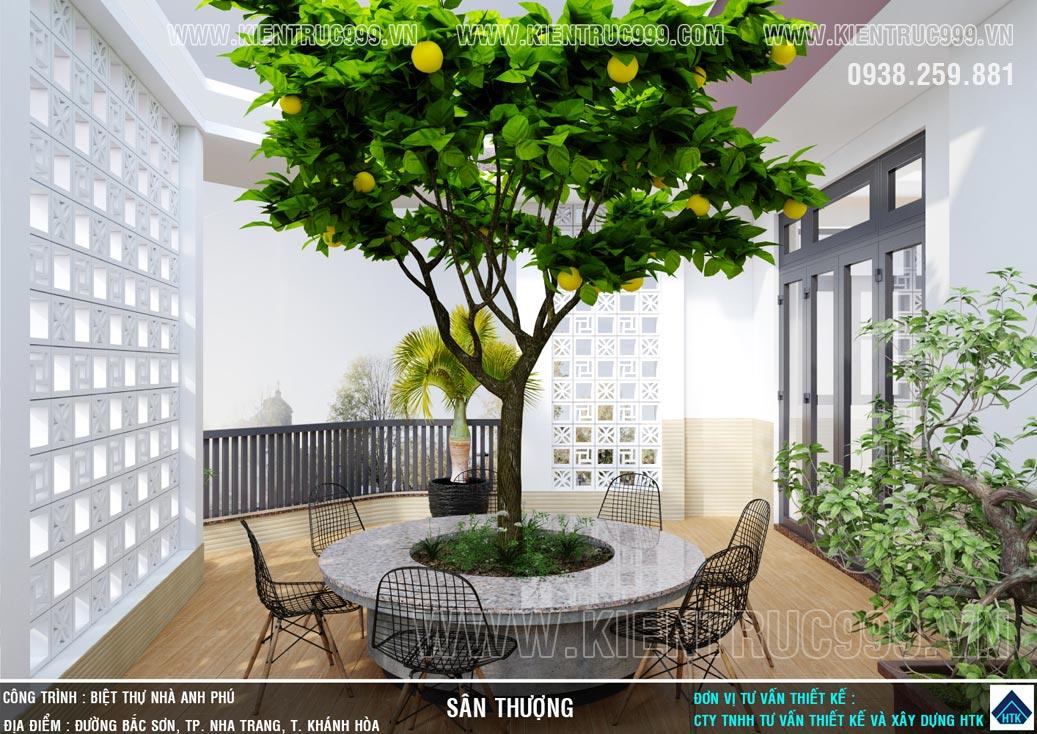 Vườn cây trên sân thượng nhà 2 mặt tiền kinh doanh cafe