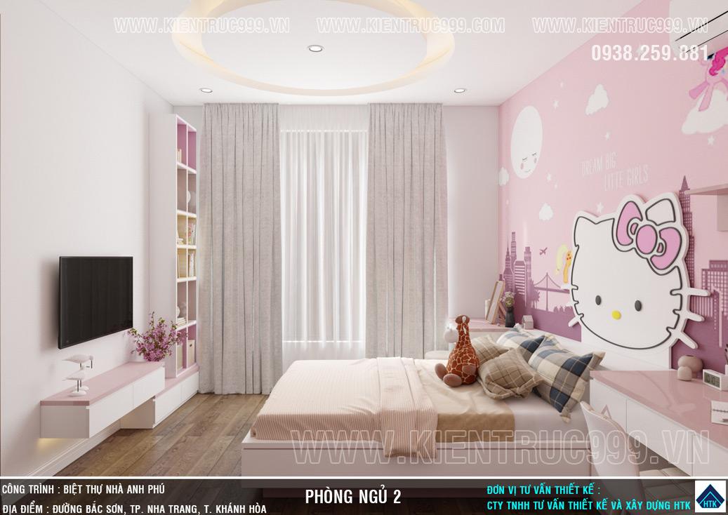 Phòng ngủ bé gái với giấy dán tường Hello Kitty ngay đầu giường