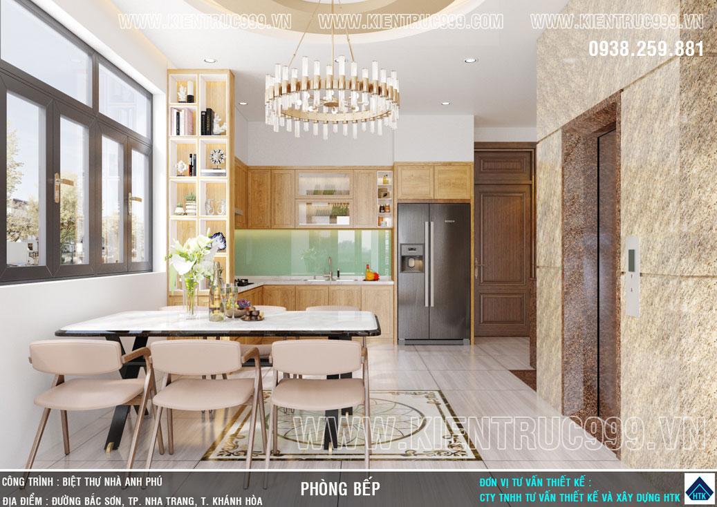 nội thất phòng bếp nhà 2 mặt tiền kinh doanh rộng rãi ngắm biển Nha Trang thoải mái