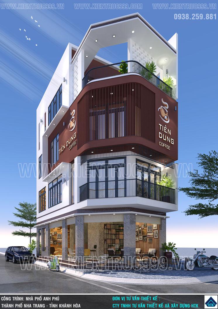 Thiết kế nhà 2 mặt tiền kết hợp kinh doanh có góc nhìn cận cảnh hoành tráng