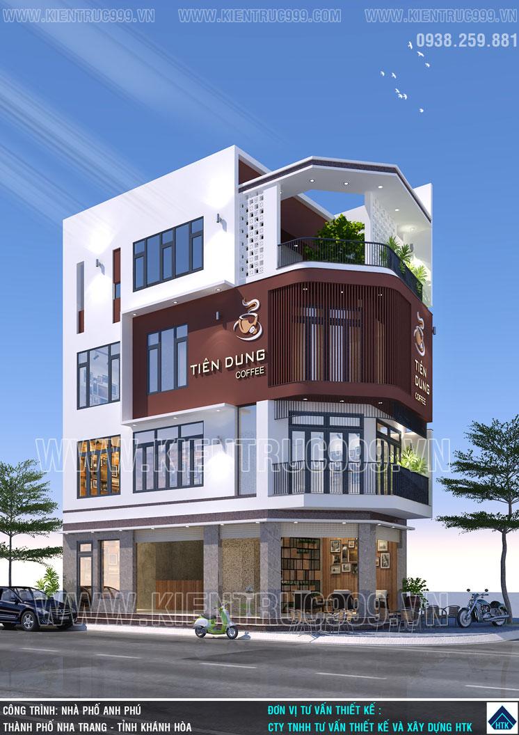 Thiết kế nhà 2 mặt tiền kinh doanh cafe nhiều sáng tạo