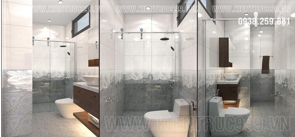 Thiết kế phòng vệ sinh với gạch ốp lát cao cấp
