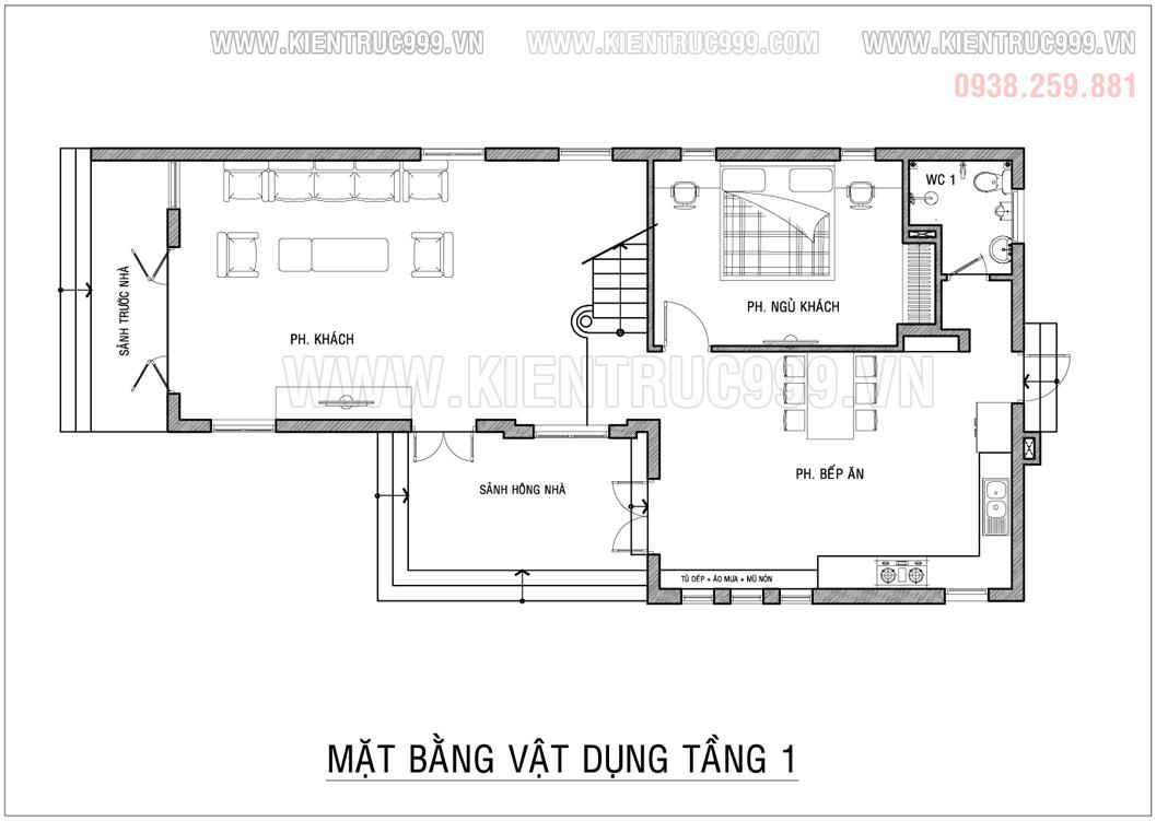 bản vẽ nhà mái lệch 100m2 có phòng ngủ dưới tầng 1