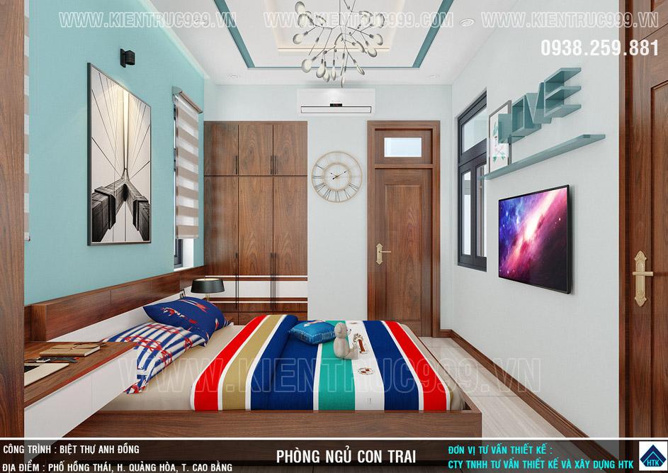 Phối màu tông màu xanh mát mẻ trong phòng con trai yêu