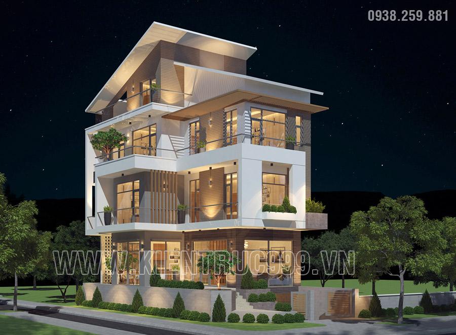 Kiến trúc nhà mái lệch 4 tầng