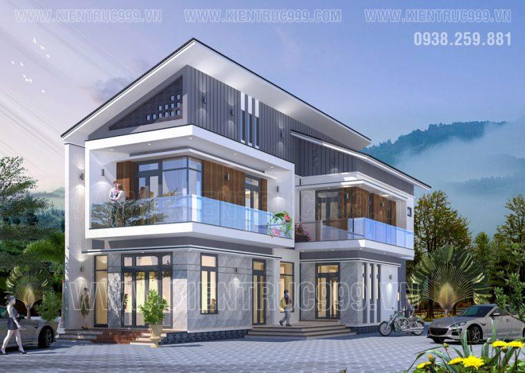 Để có mẫu nhà 2 tầng mái lệch đẹp phải xem thiết kế này