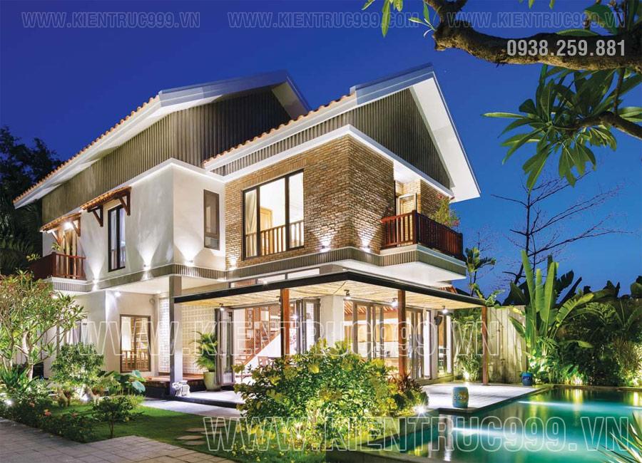 Nhà 2 tầng mái thái đơn giản đẹp