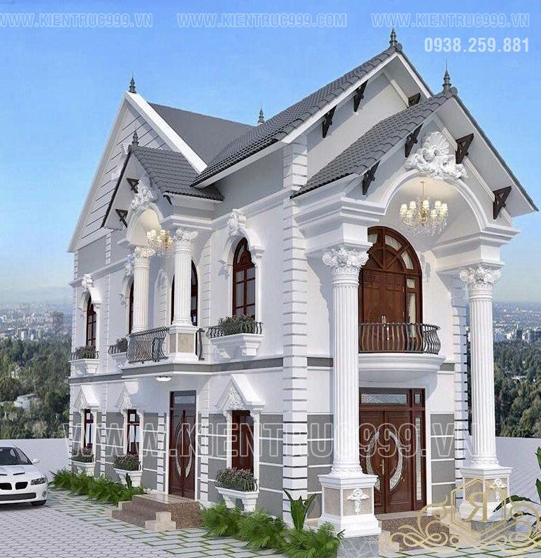 Nhà 2 tầng mái thái cổ điển