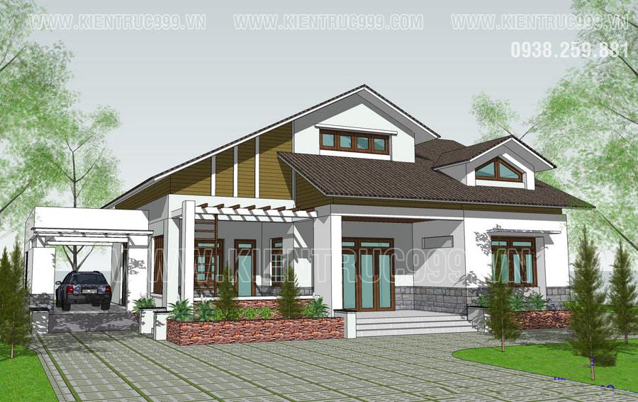 Nhà cấp 4 nông thôn mái thái 2021