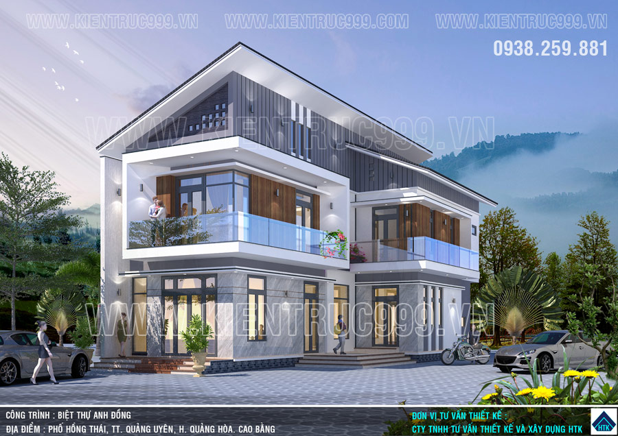 mẫu nhà 2 tầng mái lệch đẹp đơn giản