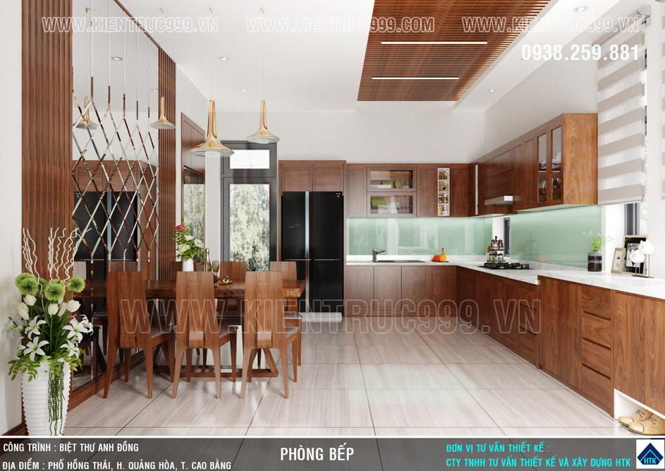 phòng bếp với thiết kế trần ốp gỗ sọc