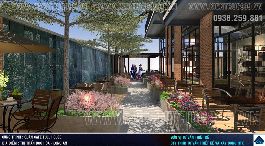 Thiết kế quán cafe sân vườn ánh sáng, âm thanh đồng bộ