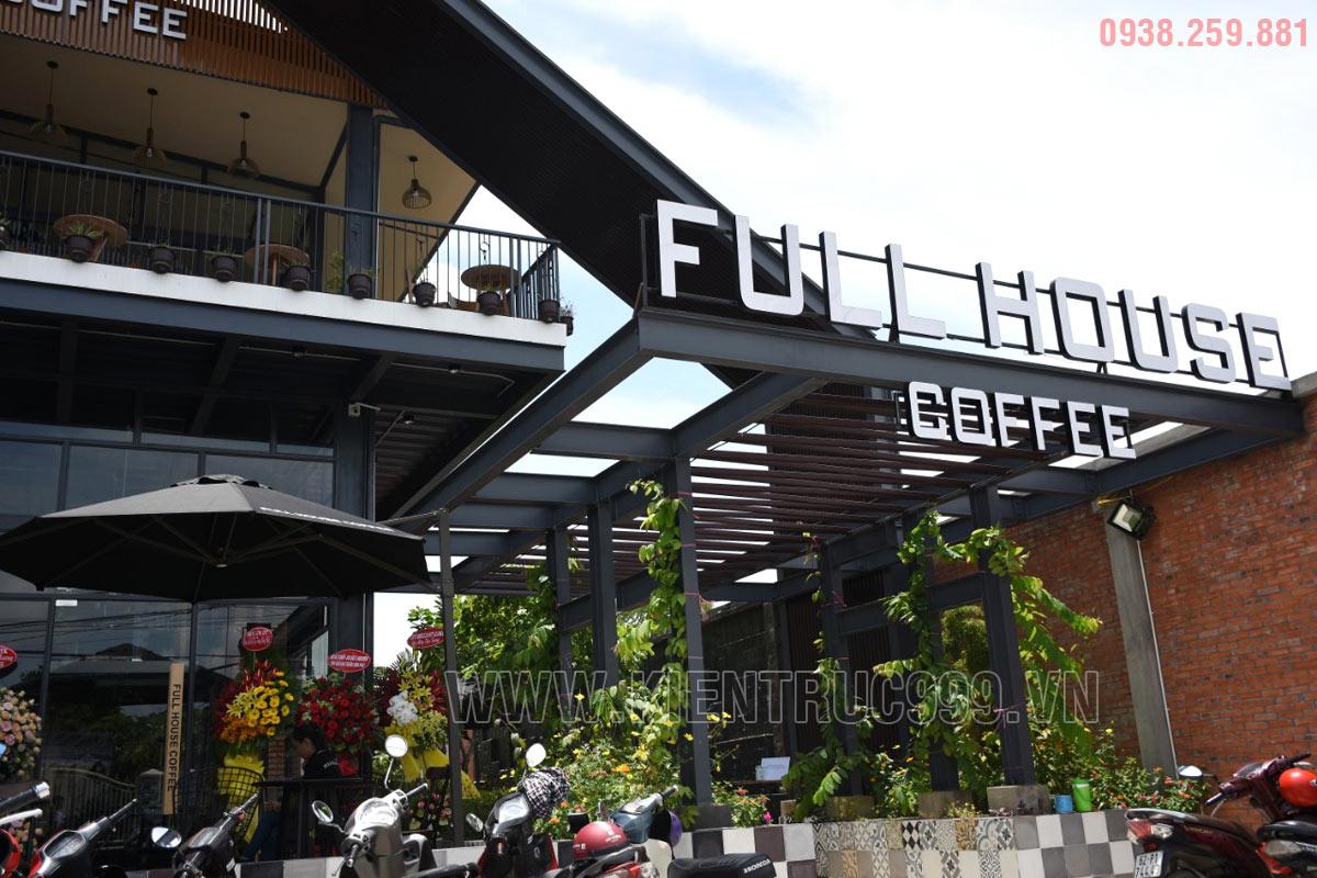 thiết kế quán cafe khung thép phong cách mộc