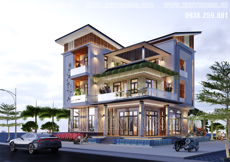 Mẫu nhà 3 tầng đẹp nhất 2020 thiết kế mái lệch