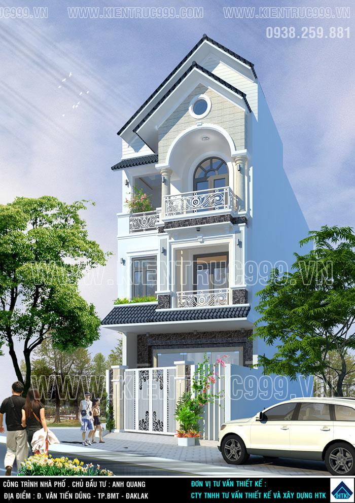 Mẫu nhà ống 3 tầng mái Thái đẹp