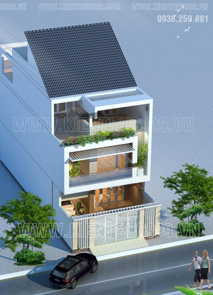 Thiết kế nhà 3 tầng mặt tiền 7m5 có gara