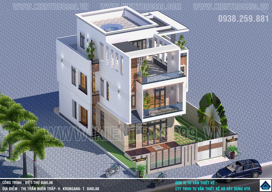 Thiết kế nhà 3 tầng đẹp Buôn Mê Thuột - Buôn Trấp