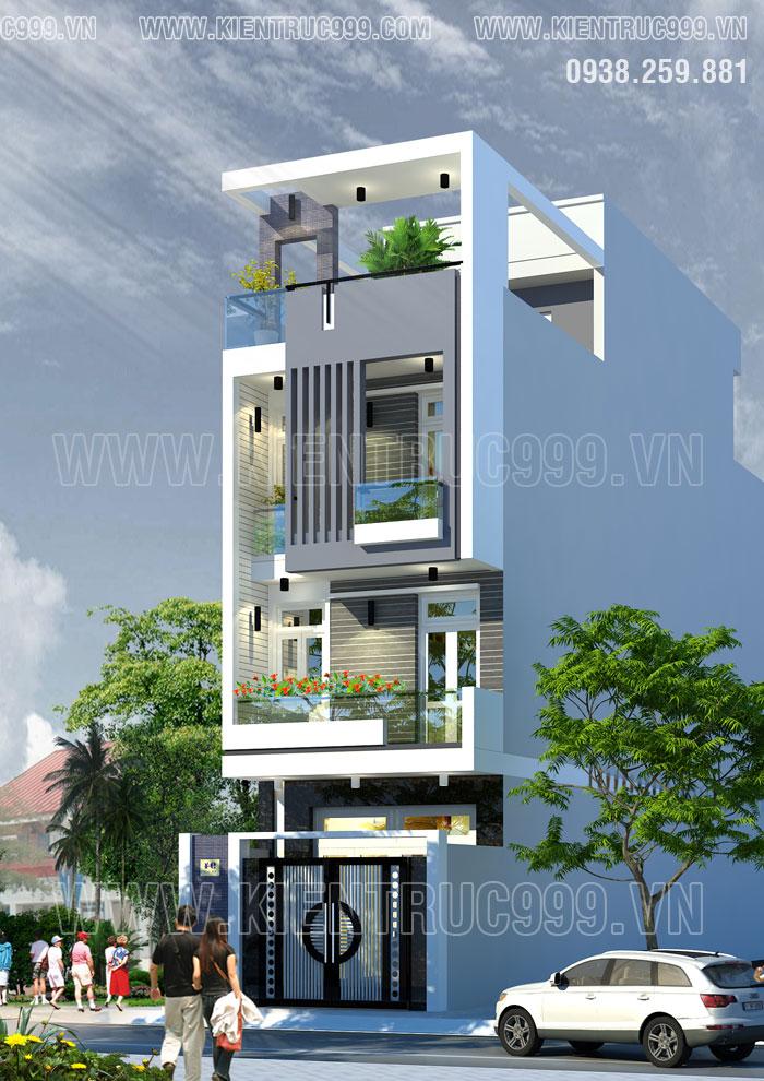 thiết kế nhà đẹp 3 tầng 1 tum