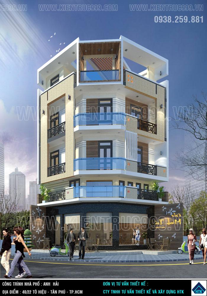 Xây nhà đẹp 3 tầng lô góc 2 mặt tiền Tân Phú