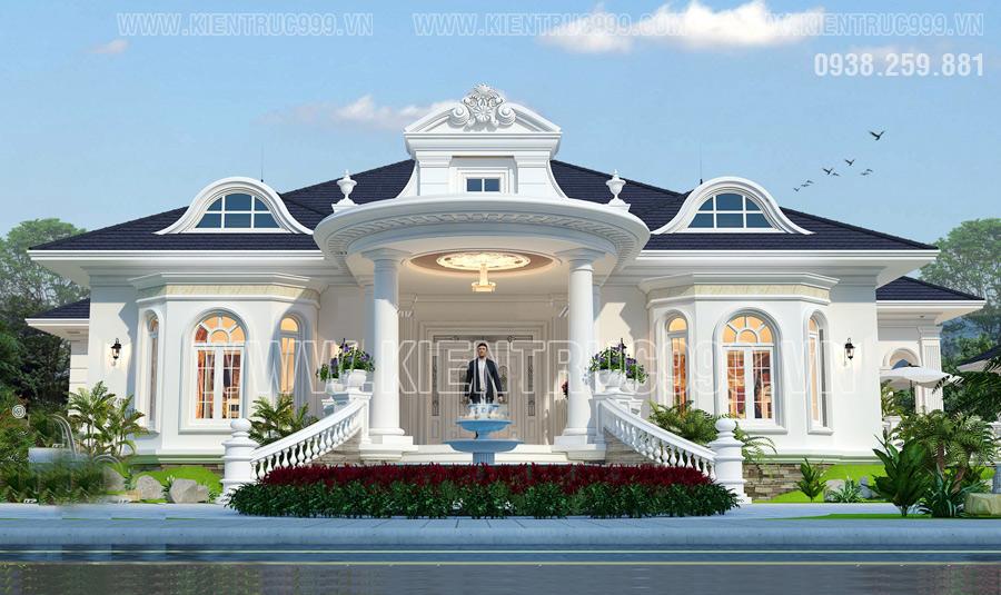 Mẫu nhà biệt thự 1 tầng hình chữ u đẹp nhất 2020