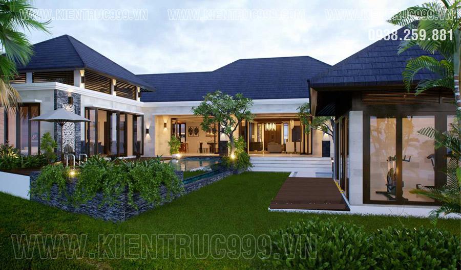 Nhà hình chữ U thiết kế dạng nhà vườn
